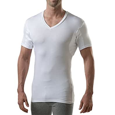 T THOMPSON TEE Sweatproof Undershirt for Men with Underarm Sweat Pads (Slim Fit, V-Neck) - White - Small (2-Pack)