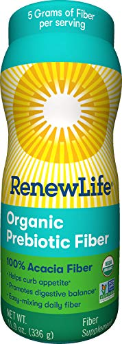 Renew Life Adult Fiber Supplement - Organic Prebiotic Fiber - Dietary Fiber - Gluten, Dairy & Soy Free - 11.9 Ounce (Packaging May Vary) (Renew Life Ibs Kit)