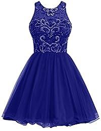 Dresstells® Short Tulle Bridesmaid Dress Beaded Formal Dress Prom Dress