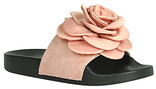 Cambridge Utvalda Womens Öppen Tå Blomma Ros Mixed Media Slip-on Flat Slide Sandal Mauve