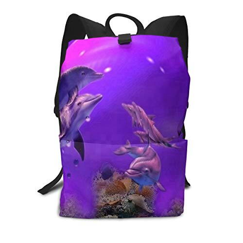 Backpack Purple Dolphins Cool Waterproof Computer Back Pack Laptop Daypack for Women Men