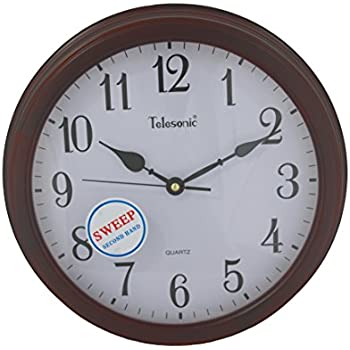 Amazon Com Telesonic Solid Wood Frame Wall Clock With