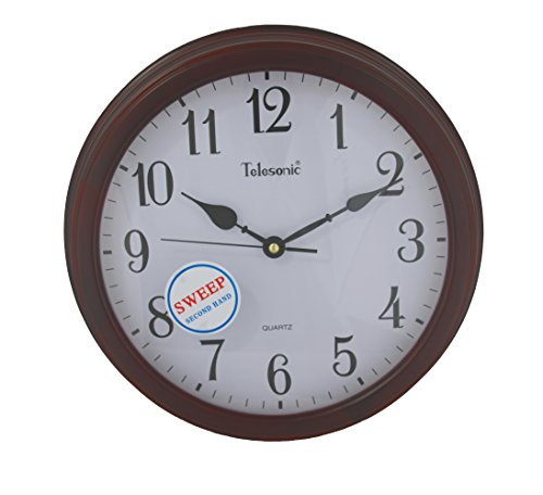 Telesonic Solid Wood Frame Wall Clock with Quiet Sweep Second Hand - 13.75