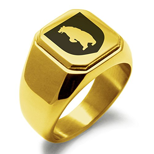 Steel Stainless Bear (Gold Plated Stainless Steel Bear Ferocity Coat of Arms Shield Symbol Engraved Square Flat Top Biker Style Polished Ring, Size 14)