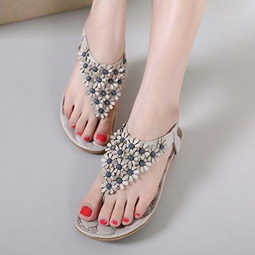 Women Rosa EU Toe Dimensione Grigio 38 piatte Flower Bohemia Clip Sandals ZHRUI Colore scarpe elastiche FqE4wgcc