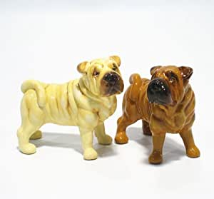 Shar Pei Dog Ceramic Figurine Salt Pepper Shaker 00003 Ceramic Handmade Dog Lover Gift Collectible Home Decor Art and Crafts