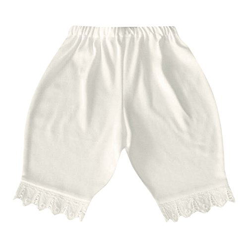 Victorian Organics Little Girl Bloomer Organic Cotton Lace Toddler Short Pant (2T 2 Toddler, Off-White)