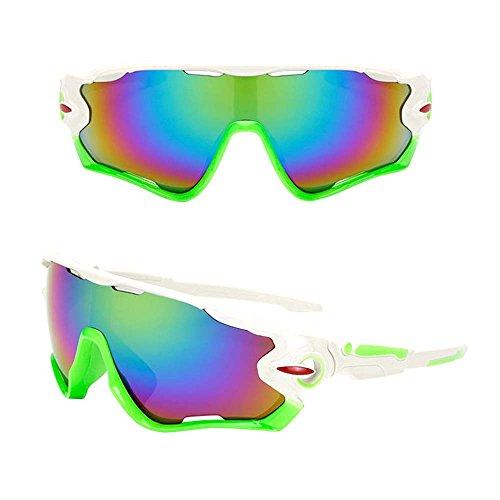 KXN Cycling Outdoor Sports Sunglasses Goggles for men women Baseball Running Cycling Fishing Golf TR (White&Blue Lens F)