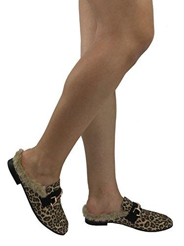 Paprika Da Donna Slip On Mocassini Backless Punta Chiusa Tacco Basso Schiena Aperta Mule Cheetah Con Pelliccia