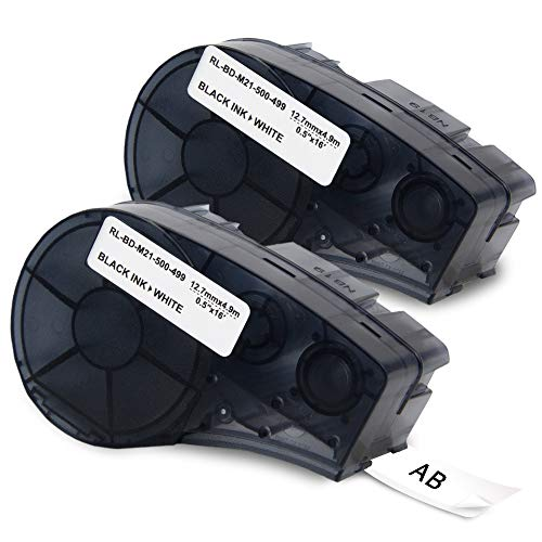 (Topcolor 1/2' M21-500-499-TB 12.7mm x 4.9m Replacement for Brady High Adhesion Cloth Label Tape Black On White Nylon, Compatible with Brady Printers BMP21-PLUS BMP21-LAB BMP21, 16' Length, 0.5' Width)