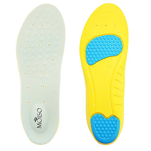 MOISO Memory Foam Orthotic Insoles for Plantar Fasciitis with Arch Support Shock Absorption Pad Design for Men & Women Yellow (Best Cushioned Insoles For Running)