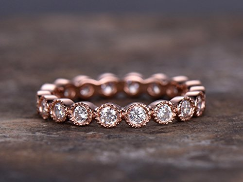 FULL eternity ring,925 sterling silver wedding band,anniversary ring.Art deco antique.stacking matching band,rose gold plated,bezel set,Man Made diamond CZ ring,any size Diamond Bezel Set Mens Band