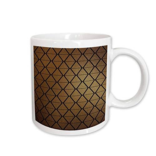 - 3dRose Anne Marie Baugh - Patterns - Modern Black and Image Of Gold Diamond In Diamond Shapes Pattern - 15oz Two-Tone Yellow Mug (mug_317689_13)