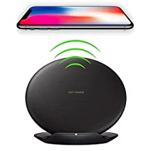 Qi Charging Pad for Nexus 4 Wireless Quick Charger Fast Charge 10W for iPhone X, iPhone 8, iPhone 8 Plus,Samsung Note 8, S6 Edge +, S7, S7 Edge, S8 and S8 Plus, etc. by Ixir