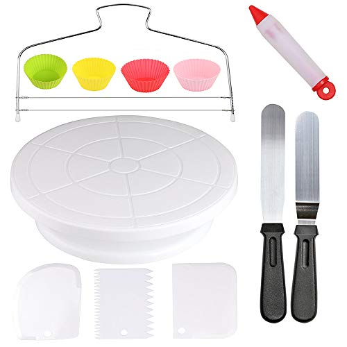 Cake Decorating Kit - Revolving Cake-Turntable, 2 Icing Spatula ,4 Reusable Silicone Baking Cups,1 Cake Leveler Layer,3 Decorating Comb/Icing Smoother