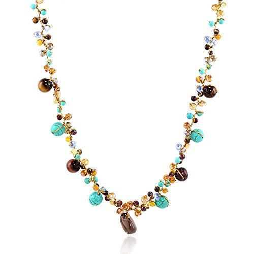 Genuine Blue Turquoise and Tiger Eye Gemstone Beads Crystal Cluster Necklace, 16-18 inches