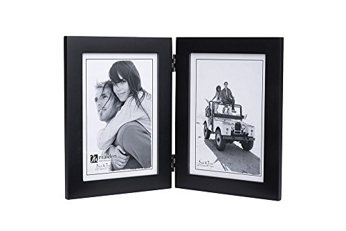 Malden Double Vertical 5x7 Picture Frame - Wide Real Wood Molding, Real Glass - Black -