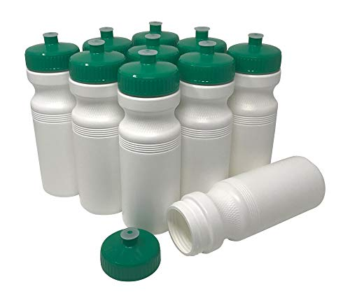 (CSBD Blank 24 oz Sports and Fitness Squeeze Water Bottles, BPA Free, HDPE Plastic, Made in USA, Bulk, 10 Pack (White Bottle - Green Lid, 24 Ounces))