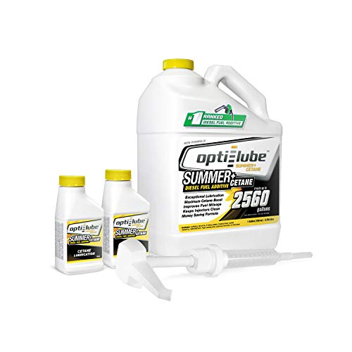 (Opti-Lube Summer+ Cetane Formula Diesel Fuel Additive: 1 Gallon with Accessories (HDPE Plastic Hand Pump and 2 Empty 4oz Bottles) Treats up to 2,560 Gallons)
