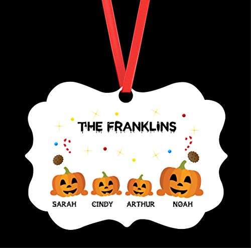 Personalized Halloween Family Aluminum Medallion Ornament - Personalized Christmas Ornaments Family of 4- Personalized Ornament For Family - Family Ornament - Custom Family Ornament - Customized Gift