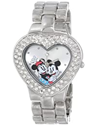 Disney Women's Mickey and Minnie Mouse Dial Bracelet Watch Silver MN2003