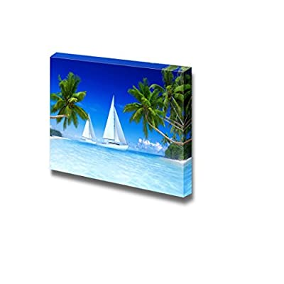 White Sail Boats and Palm Trees in a...24