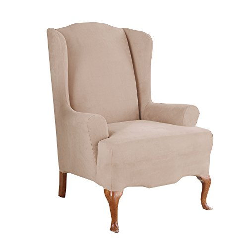 Sure Fit Stretch Suede   Wing Chair Slipcover   Taupe (SF35370)
