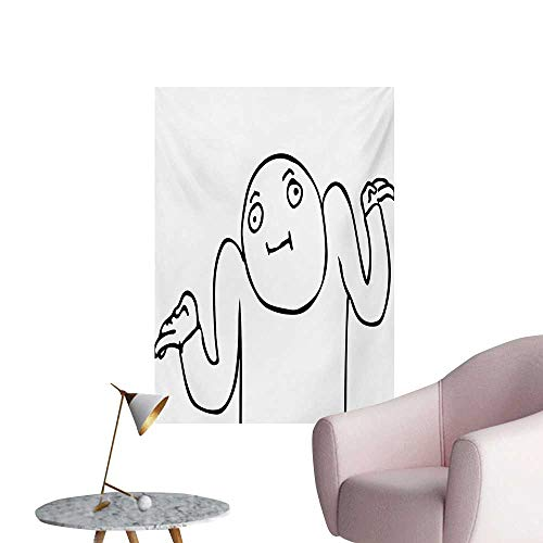 Anzhutwelve Humor Mural Decoration Whatever Guy Meme Confusion Gesture Label Creative Drawing Rage Makers DesignBlack and White W32 xL36 Custom Poster