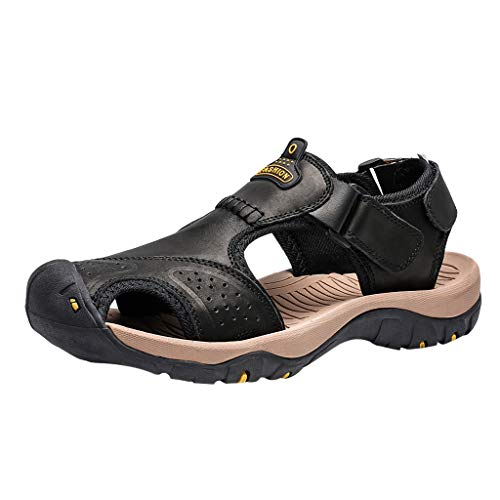 Respctful✿Men Sandals Leather Fashion Fisherman Beach Shoes Summer Slip On Sandal Walking Adustable Strap Water Shoes Black