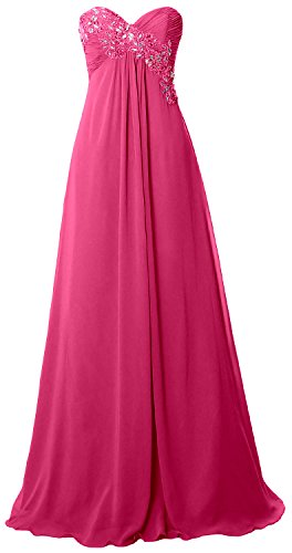 MACloth Women Strapless Empire Long Prom Dress Chiffon Formal Party Evening Gown Fuchsia