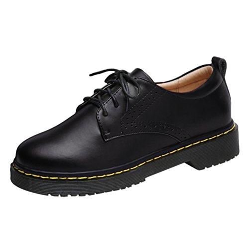 Yiiquan PU Bateau Lacets Brogues Cuir Noir Sculpté Femme Chaussures Flats Loisirs Chaussures Classique r6qr4p