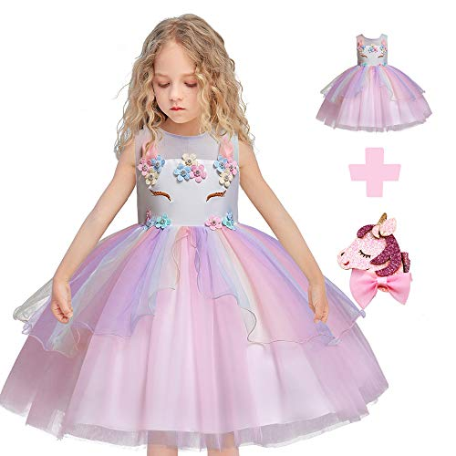 Flower Girls Unicorn Costume Cosplay Princess Dress up Kids Pageant Party Dress Dance Outfits Evening Gowns (5 Years, Pink)