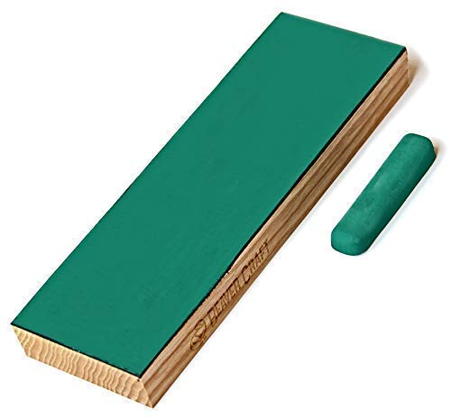 Leather Stropping Block Kit - Knife Sharpening Kit - Leather Honing Strop for Sharpening Knives - 8'' Long BeaverCraft Wood Carving Sharpening Strop - Stropping Leather Block with Polishing Compound