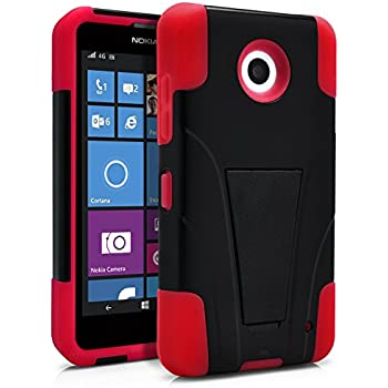 Nokia Lumia 635 Case, Nokia Lumia 630 Case, MagicMobile Premium Hybrid Shockproof Armor Cover Two Layers of Protection Red Soft Silicone and Black Hard Plastic Cover with Kickstand [ Compatible with Nokia Lumia 630 / 635 All Carriers]