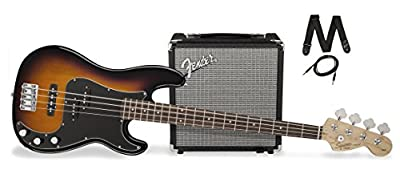 Squier by Fender PJ Electric Bass Guitar Beginner Pack with Rumble 15 Amplifier - Black Finish