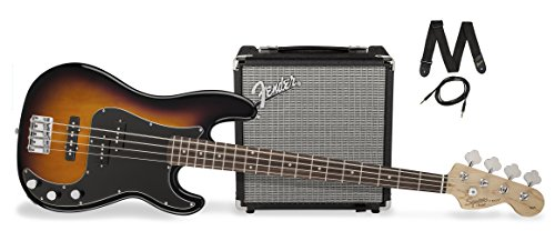 Squier by Fender PJ Electric Bass Guitar Beginner Pack with Rumble 15 Amplifier – Brown Sunburst Finish