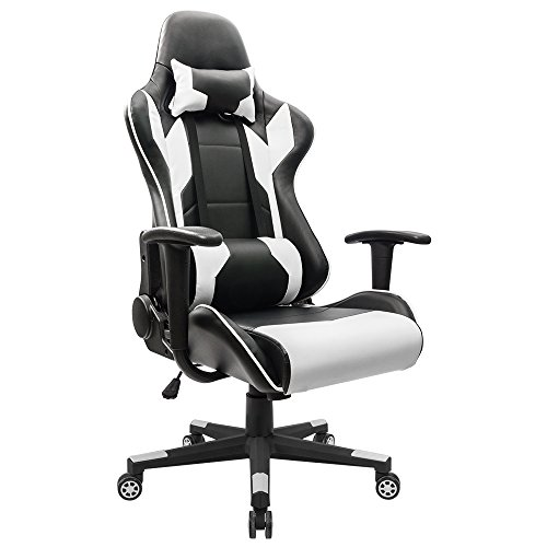 Homall Gaming Chair Racing Style High-back Faux Leather Office Chair Computer Desk Chair Executive and Ergonomic Style Swivel Chair with Headrest and Lumbar Support (White)