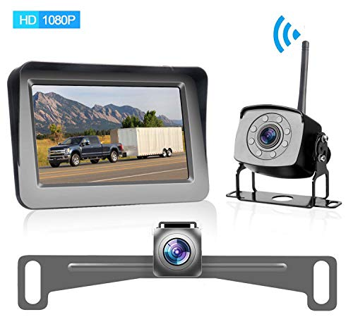 "HD 1080P Digital Wireless Dual Backup Camera for Cars/Trailers/Trucks/RVs/Motorhomes/5th Wheels 5""Monitor with Highway Monitoring System IP69K Waterproof Super Night Vision"