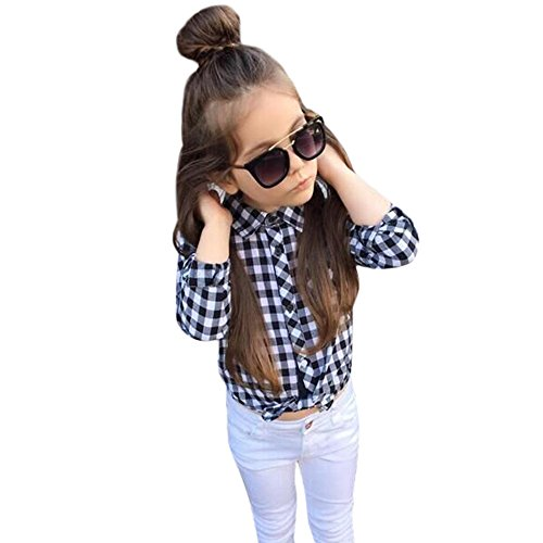 ILUCI Girl 2PCS/Set Newborn Fashion Baby Girls Kids Long Sleeve Plaid Shirt Tops+Jeans Outfits Set Clothes (6T)