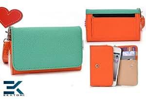 PU Leather Women's Wallet Universal Phone Clutch with Wrist Strap fits LG Lucid 2 Case - GREEN & ORANGE. Bonus Ekatomi Screen Cleaner