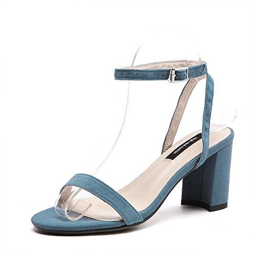 AJUNR Moda/elegante/Transpirable/Sandalias Frosted zapatos de mujer hebillas rough tacones salvaje simple azul 7 cm Zapatos de tacon alto Treinta y seis 36