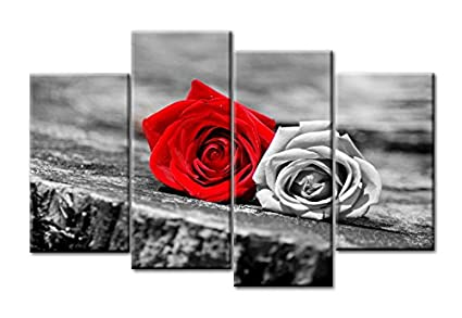 Amazon.com: Genius Decor - Gray and Red Rose Canvas Wall Art Picture ...