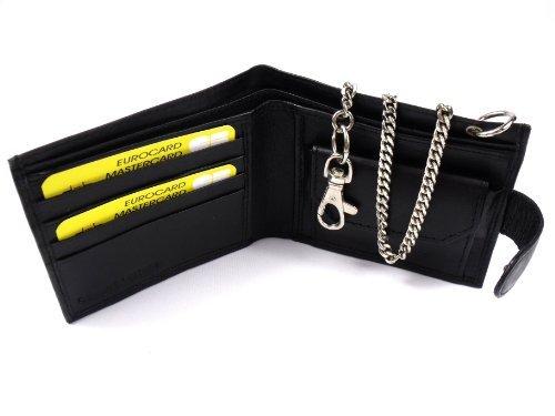 The Leather Emporium Men's Luxury Leather Chain Wallet 172 Medium Black
