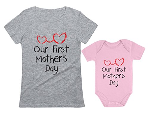 (Our First Mother's Day Outfit for Mom & Baby Matching Set Bodysuit & Women Shirt Mom Gray Medium/Baby Pink 6M (3-6M))