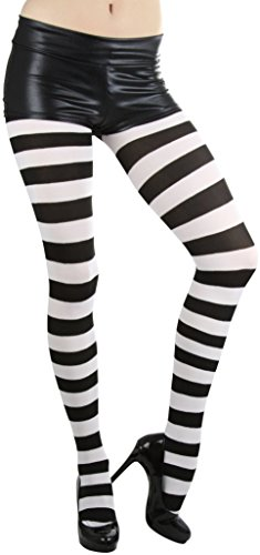 ToBeInStyle Women's Full Footed Wide Striped Tights (Plus Size, Black And White)