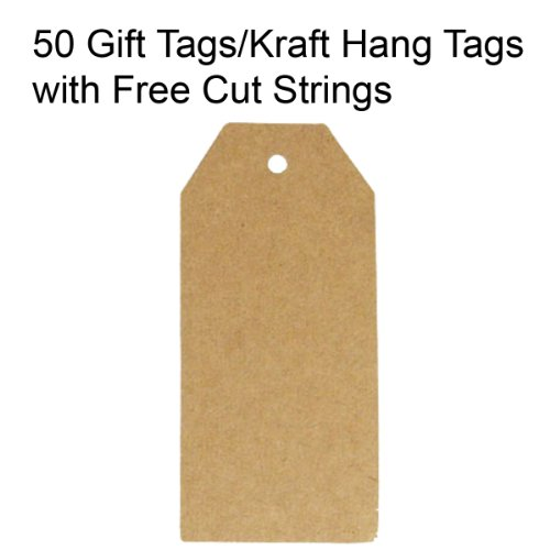 Wrapables 50 Gift Tags/Kraft Hang Tags with Free Cut Strings for Gifts Crafts and Price Tags, Original Tag - Original Tags