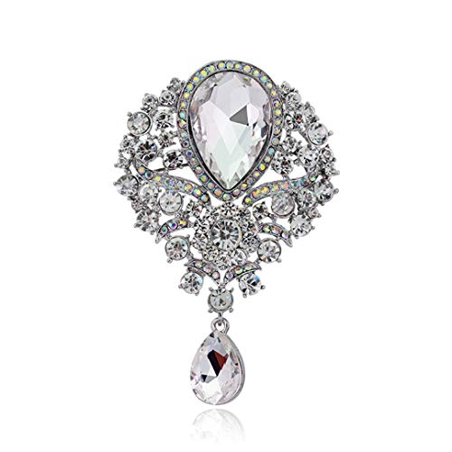 (XINCSLHF Big Size Colorful Multicolor Water Drop Crystal Vintage Brooch Elegant Brooch Rhinestone Jewelry Brooches for Women Accessories White)