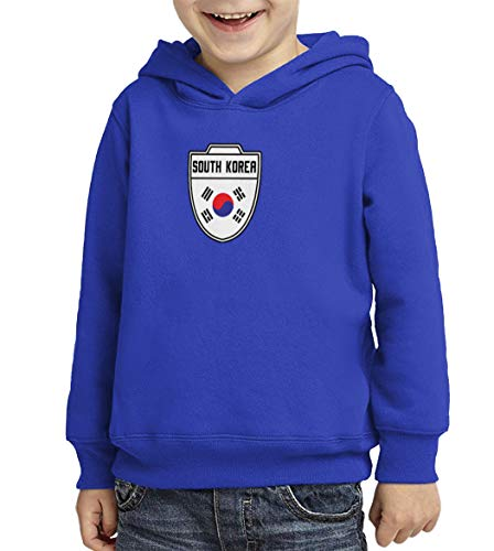 (South Korea - Country Soccer Crest Toddler/Youth Fleece Hoodie (Royal Blue, X-Small (Youth)))