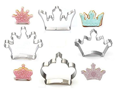 Cookie Cutter, KOOTIPS 4 Pcs/Set Crown King Queen Prince Princess Shapes Stainless Steel Cookie Cutter Fondant - Cutter King