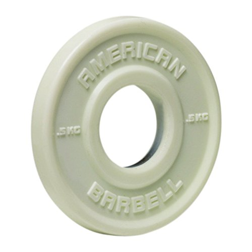 American Barbell Urethane Fractional Olympic Weight Plates - 0.5 KG Pair - White - Fraction Plates for Micro-Loading